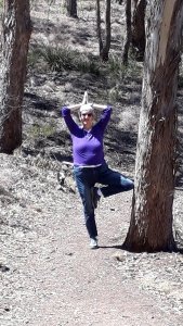 Tree pose in the woods